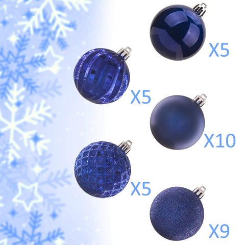 "KI Store 34ct Christmas Ball Ornaments Shatterproof Christmas Decorations Tree Balls for Holiday Wedding Party Decoration, Tree Ornaments Hooks Included 2.36"" (60mm Blue)"