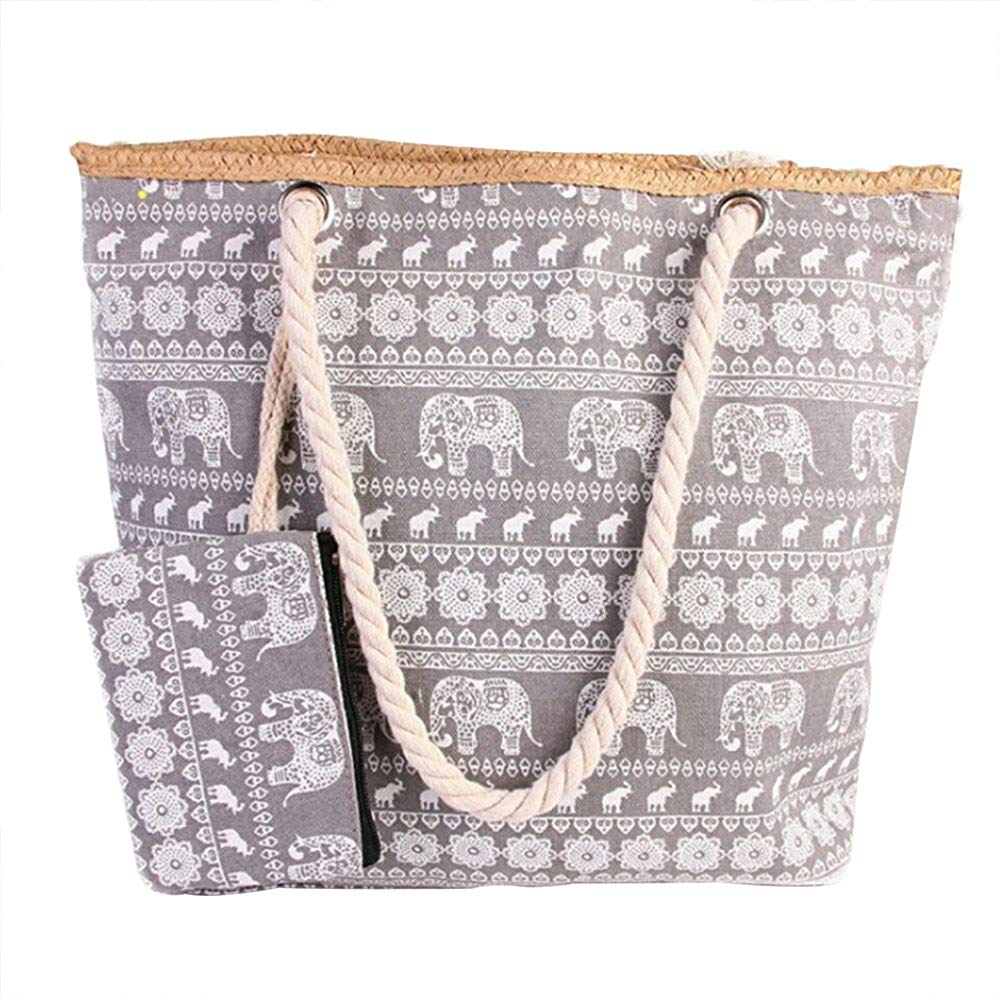 PULAMA Women Beach Tote Canvas Shoulder Bag Summer Handbag Boho Top Handle Bag Witth Coin Pouch