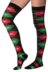 Mens & Womens Fun Novelty Holiday Christmas Hanukkah Socks-Crews, Knee Highs and Over The Knees