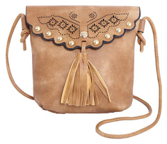 PULAMA Vintage Camel Soft PU Leather Suede Crossbody Fringe Cellphone Wallet Purse