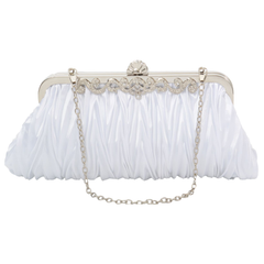 PULAMA Elegant Envelope Clutch Satin Purse Wallet with Vintage Decoration, Pure White