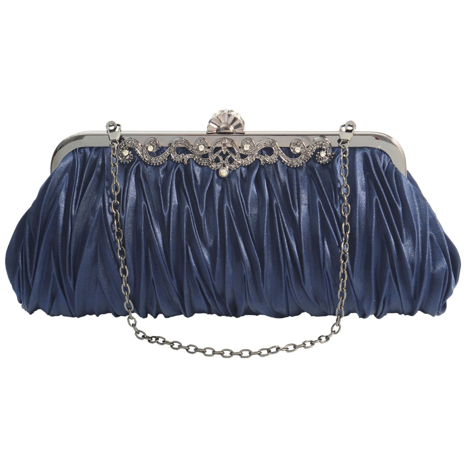 PULAMA Elegant Envelope Clutch Satin Purse Wallet with Vintage Decoration Dark Navy