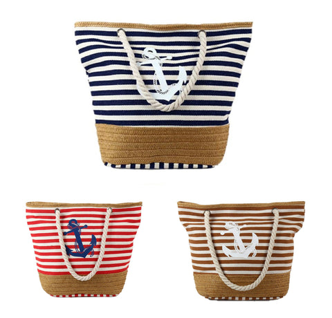 PULAMA Womens Beach Handbag - Made with Canvas and Straw - Soft Top Handle - Thin Stripes with Anchor Design
