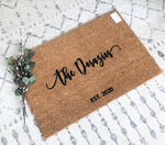 Modern Name Doormat - Name & Est. Year Customizable