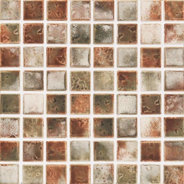 Cepac Porcelain Mosaic Tiles, Frost Proof/Acid Resistant, Mirage, Forest Path, 1″ x 1″