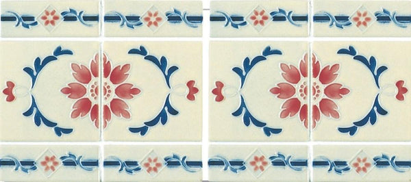 Cepac Porcelain Mosaic Tiles, Frost Proof/Acid Resistant, New Floral, Ivory