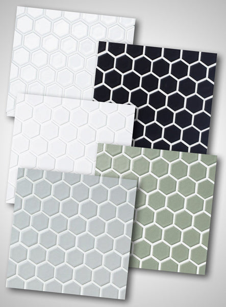 Cepac Porcelain Mosaic Tiles, Frost Proof/Acid Resistant, Retro 1″ Hexagon, Multi-color, 1″ Hexagon