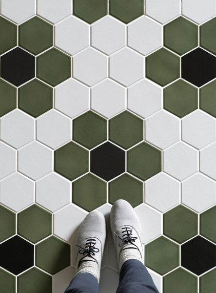 Cepac Porcelain Mosaic Tiles, Frost Proof/Acid Resistant, Rokka, Multi-color, 4″ Hexagon