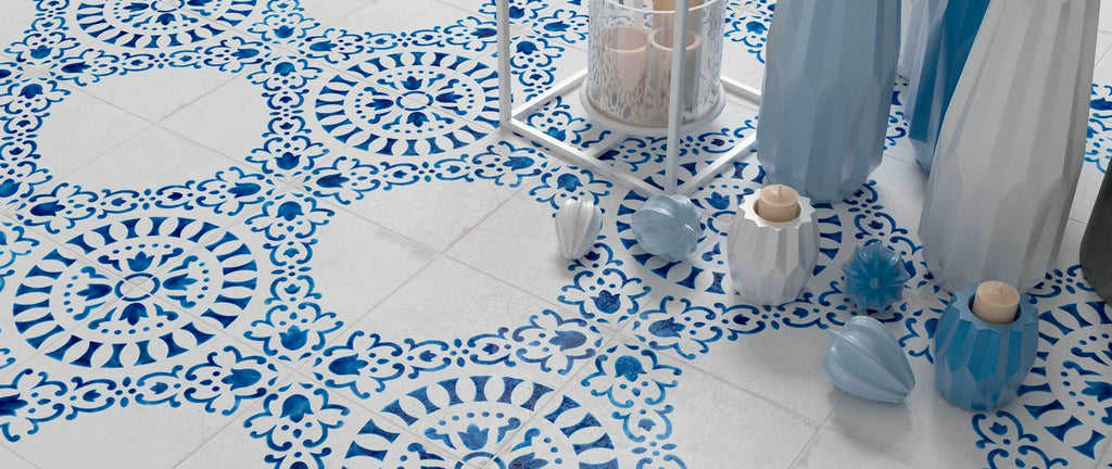 WOW Floor Tiles, Blanc et Bleu Collection, Antique Decor 1