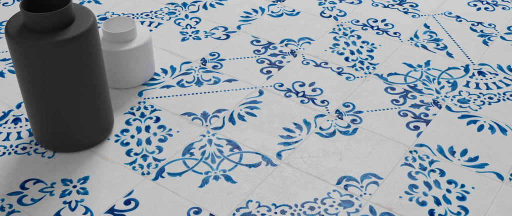 WOW Floor Tiles, Blanc et Bleu Collection, Antique Decor Mix