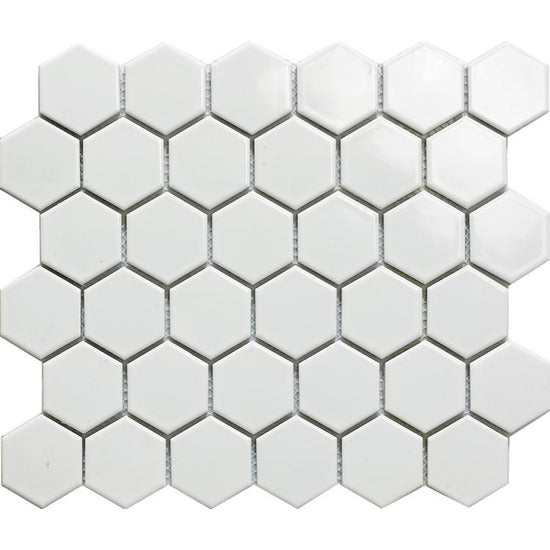 "Elysium Tiles, Handmade Porcelain Mosaic, White Hexagon Polished, 2"" x 2"""