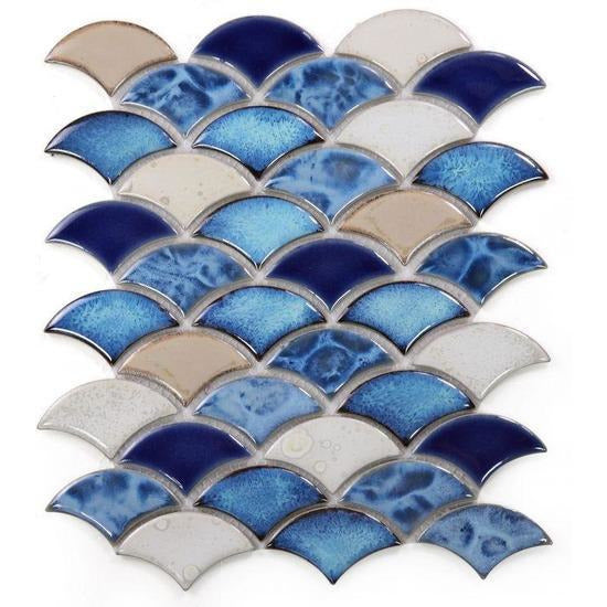 Elysium Tiles, Handmade Porcelain Mosaic, Dragon Scale, Multi-color, Multi-size
