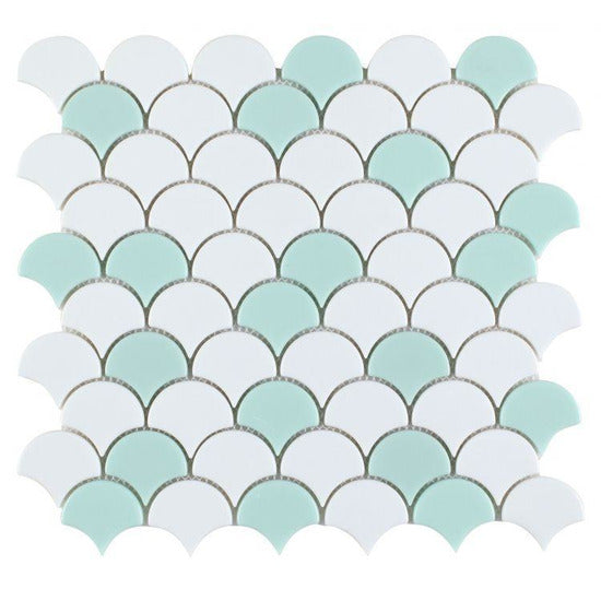 "Elysium Tiles, Glass Mosaic, Fish Scale, Multi-color, 11.5"" x 12"""