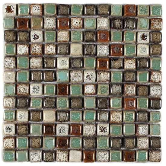 "Elysium Tiles, Handmade Porcelain Mosaic, Atlas, Multi-color, 11.75"" x 11.75"""