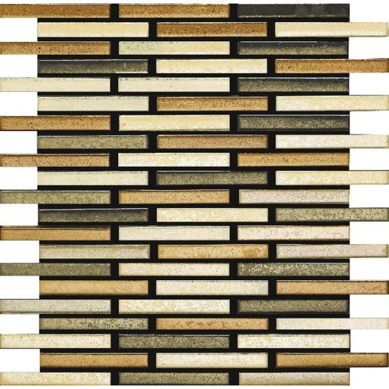 Elysium Tiles, Handmade Porcelain Mosaic, Wheat, Multi-color, Multi-size