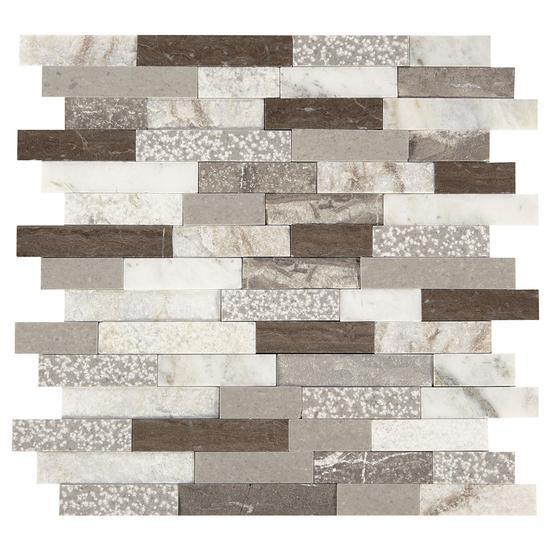 American Olean Natural Stone, Random Linear Mosaic Tile, Presario Collection, Multi-Color, 24x24 Tiles American Olean Reverent Taupe