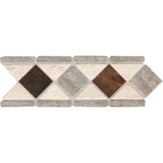 American Olean Ceramic Natural Stone Accents, Designer Elegance Collection, Penny Diamond, 4x11