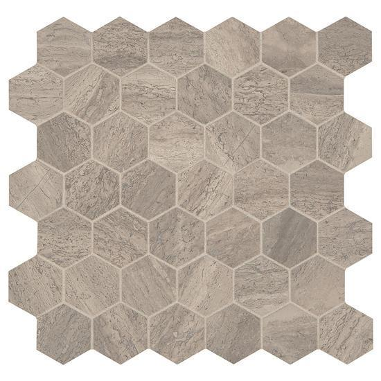 American Olean Natural Stone, Hexagon Mosaic Tile, Presario Collection, Multi-Color, 24x24
