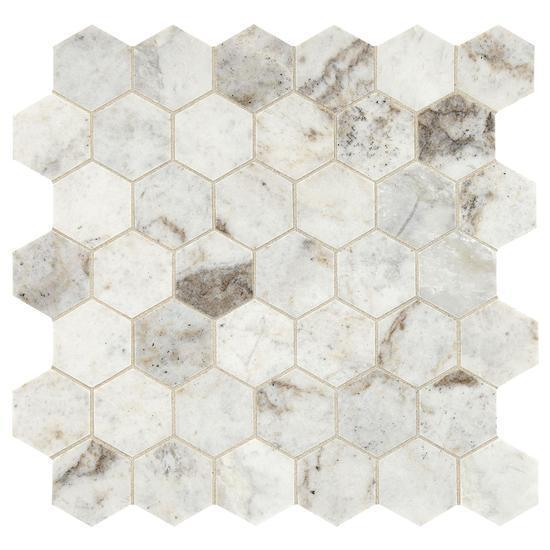 American Olean Natural Stone, Hexagon Mosaic Tile, Presario Collection, Multi-Color, 24x24 Tiles American Olean Luman White