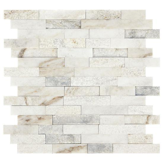 American Olean Natural Stone, Random Linear Mosaic Tile, Presario Collection, Multi-Color, 24x24 Tiles American Olean Luman White