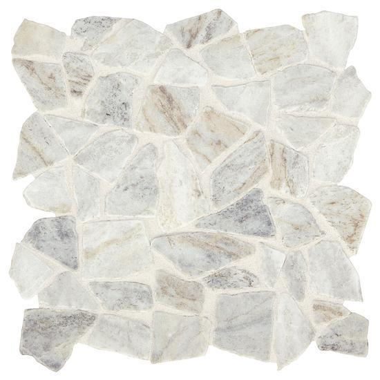 American Olean Natural Stone, Pebble Mosaic Tile, Presario Collection, Multi-Color, 24x24 Tiles American Olean Luman White