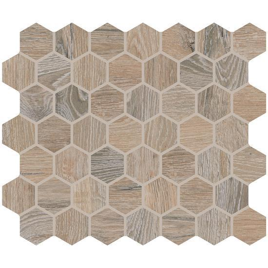 American Olean Glazed Ceramic Mosaic Tile, Waterwood Collection, Multi-Color, 11x10