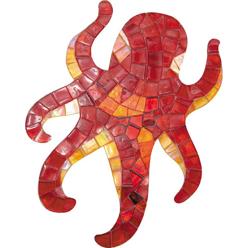 "Mir Mosaic, Alma Tiles, Artistic Murals Collection, APM - Octopus, 7.52"" x 9.4"""