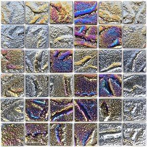 Soho Studio Glass Tile, Aqueous, Multi-color, 2x2 Tiles Soho Studio Iridescent Black
