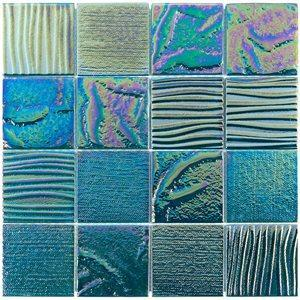 Soho Studio Glass Tile, Aqueous, Multi-color, 3x3