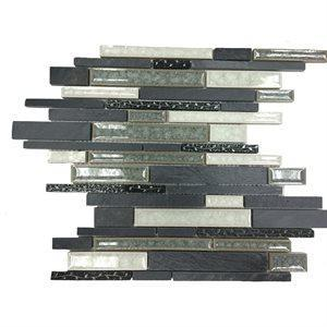 Soho Studio Glass Tile, Art Glass Botanical, Multi-color, 11x11 Tiles Soho Studio Black Slate