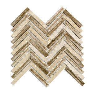 Soho Studio Glass Tile, Art Glass Herringbone, Multi-color, 10x11 Tiles Soho Studio Crema Tan