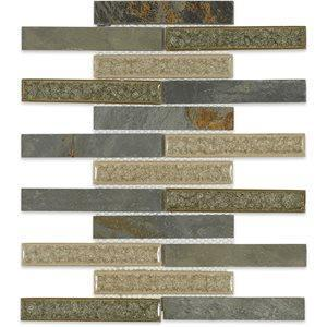 Soho Studio Glass Tile, Art Glass Rustic , Multi-color, 11x11 Tiles Soho Studio Slate