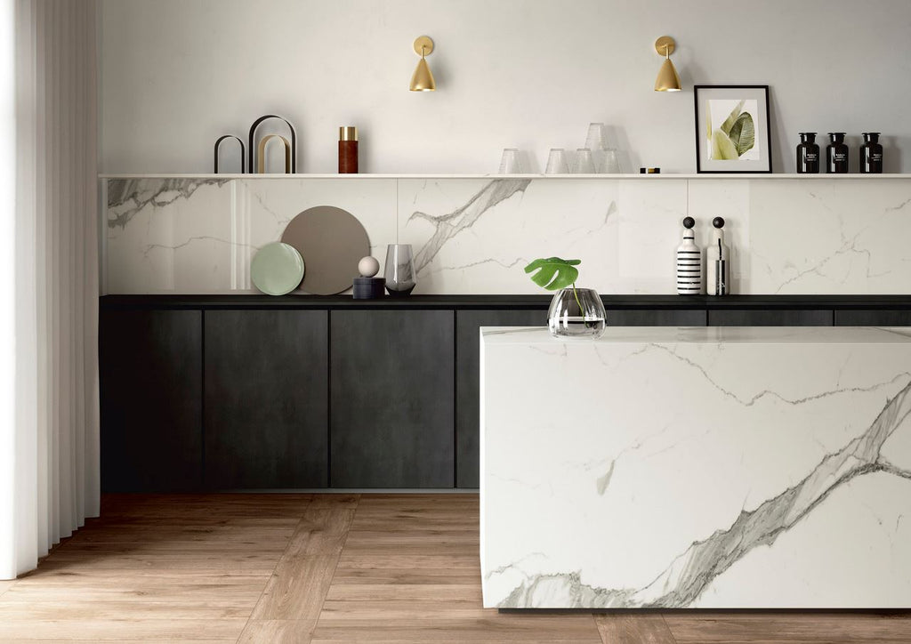 "SapienStone, Single Porcelain Slab, Natural/Silky/Polished, Calacatta Statuario, 126"" x 60"""