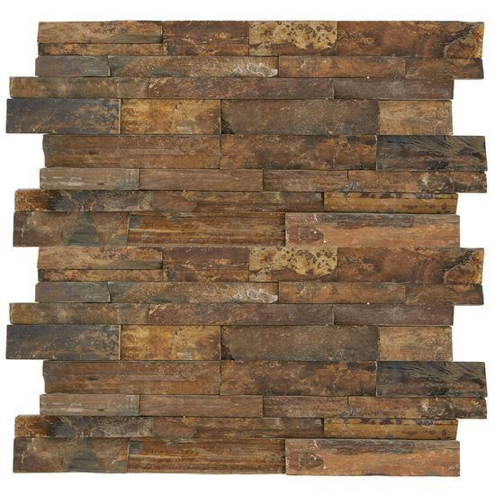 American Olean Natural Stone, Slate Tile, Stacked Stone Collection, Tibetan Slate, 6x24