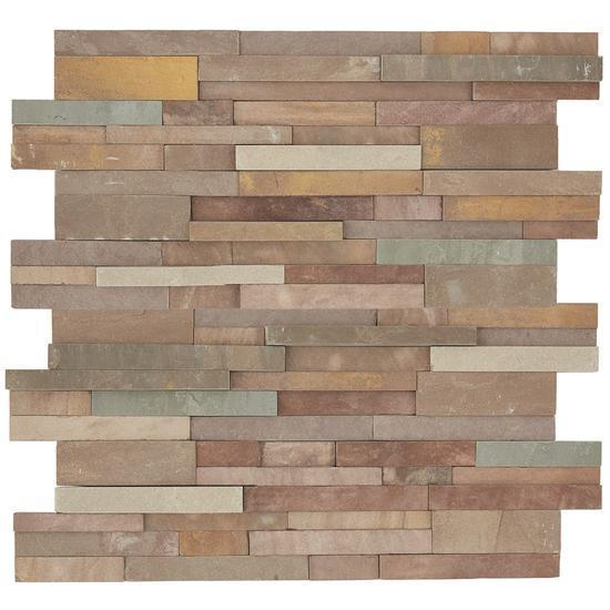 American Olean Natural Stone, Sandstone Tile, Stacked Stone Collection, Multi-Color, 6x24