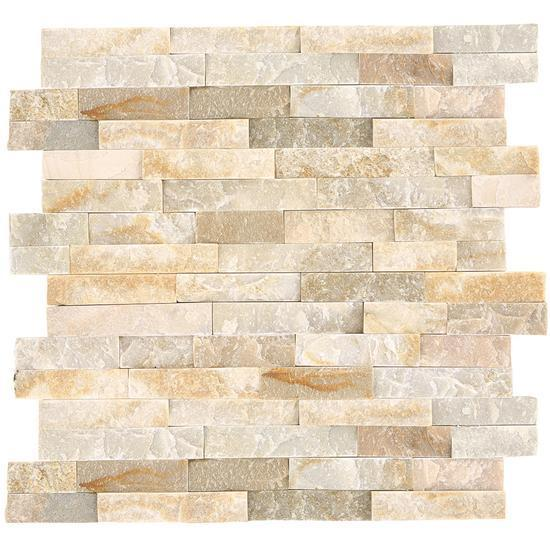 American Olean Natural Stone, Quartzite Tile, Stacked Stone Collection, Multi-Color, 6x24 Tiles American Olean Golden Sun