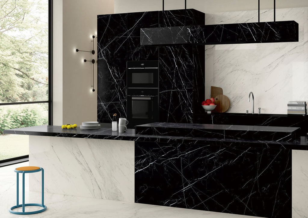 "SapienStone, Single Porcelain Slab, Silky/Polished, Dark Marquina, 126"" x 60"""