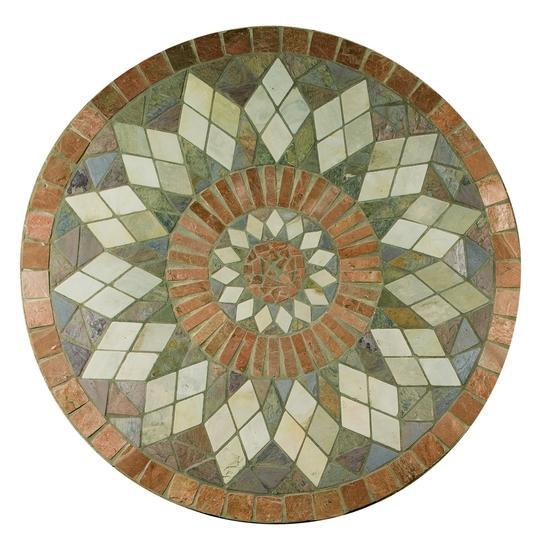American Olean Natural Stone, Tumbled Stone Medallions Tile, Medallion Collection, Zinnia, 36 In. Diameter Honed