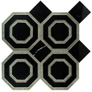 Soho Studio Blend Tiles, Omni Hex, 12x11 Tiles Soho Studio Nero Marquina & Antique Mirror Line