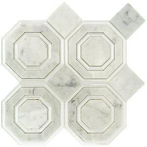 Soho Studio Blend Tiles, Omni Hex White, 12x12 Tiles Soho Studio White Carrara & Super White Polished Line