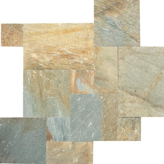 American Olean Natural Stone, Quartzite Tile, Slate Collection, Multi-Color, 16x16 Tiles American Olean Golden Sun Pattern