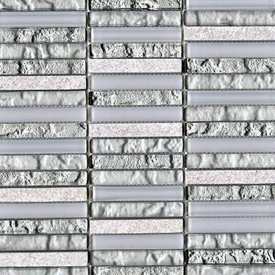 "Porcelanosa Mosaics Tile, Techno, Multi-Color Tiles Porcelanosa USA Linear Silver White 12""X12"""