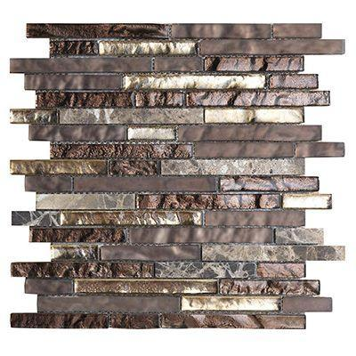 Porcelanosa Mosaics Tile, Tressure Bronze, Multi-Color