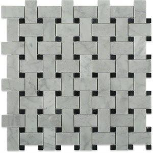 Soho Studio Marble Tiles, Aluminum Silver, 12x12 Tiles Soho Studio White Carrara & Black Dot