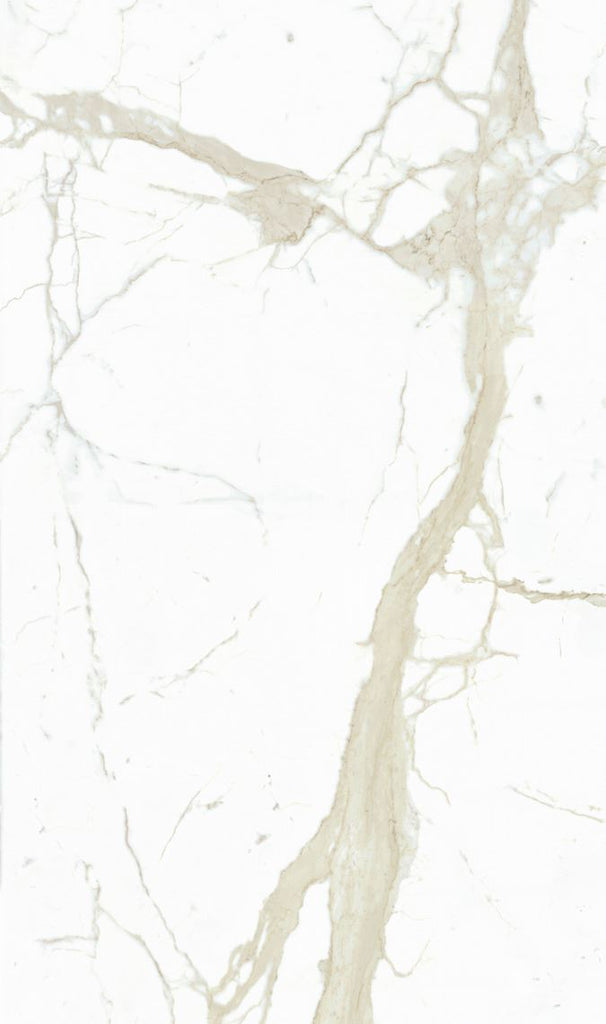 "SapienStone, Book-matched Porcelain Slab, Silky/Polished, White Calacatta Mirrored, 126"" x 60"""