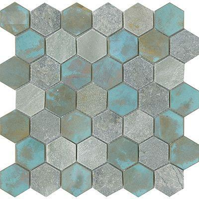 Porcelanosa Mosaics Tile, Worn, Multi-Color