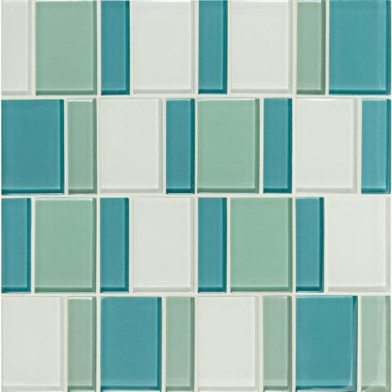 American Olean Block Glass Mosaic Tile, Renewal Collection, Multi-Color, 12x12 Tiles American Olean Sea Pearl
