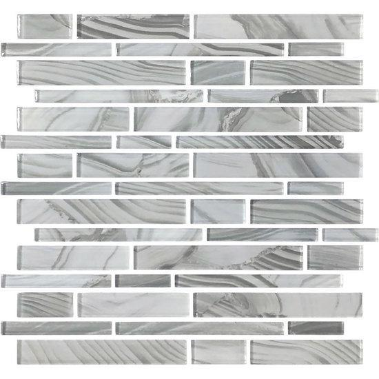 American Olean Random Linear Glass Mosaic Tile, Refluence Collection, Multi-Color, 13x12