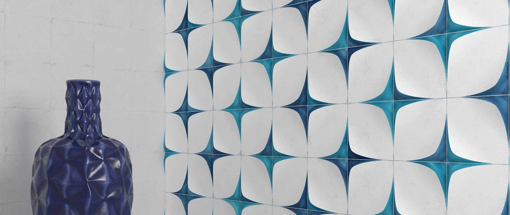 WOW Wall Tiles, Blanc et Bleu Collection, Antique Wall