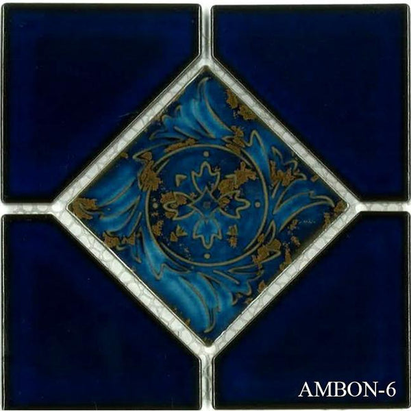 "Fujiwa Pool Tiles, Ambon Deco Series, Multi-color, 6"" x 6"""